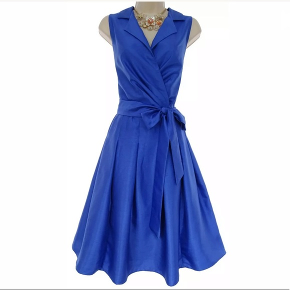 16 XL 1X▪️BLUE SHINY PLEATED DRESS W/TIE Plus Size